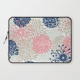 Floral Mixed Blooms, Blush Pink, Navy Blue, Gray, Beige Laptop Sleeve