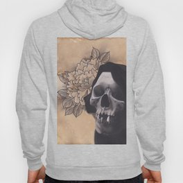 Realism Drawing of Reaper with Traditional Tattoo Styled Peony Hoody