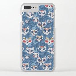 Calavera Cats Clear iPhone Case