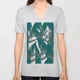 tropical strelitzia flowers leaf sketch, black contour pink coral yellow green. simple ornament Unisex V-Neck