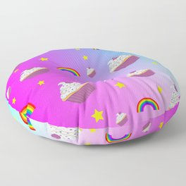 cupcakes and rainbows pattern Floor Pillow