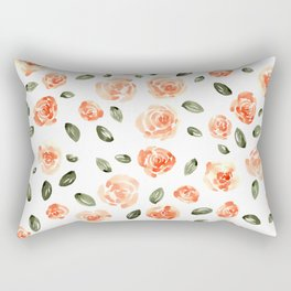 Peach Roses with Olive Leaves // Hand Painted Watercolor Flowers // Peach Roses with Green Leaves Rectangular Pillow