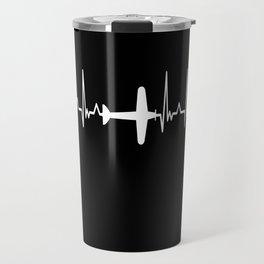 Airplane Heartbeat Pilot Airport Jet Travel Mug