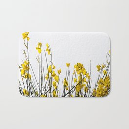 Minimal Garden -Yellow Version - Black Stems with Yellow Petals On White #decor #society6 #buyart Bath Mat