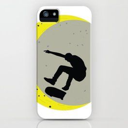 Skateboard Kick Flip OnThe Moon Silhouet Skateboarder iPhone Case