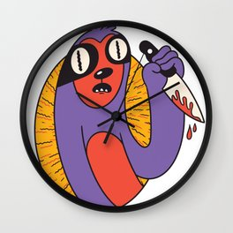 Sloth with knife Wall Clock
