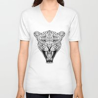 leopard V-neck T-shirts featuring Leopard by Libby Watkins Illustration