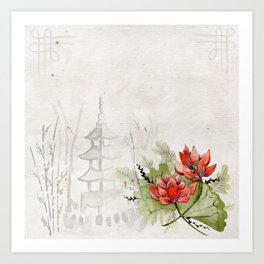 Ink Sketch Pagoda and Red Flowers Art Print