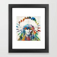 Native American Art - Chief - By Sharon Cummings Framed Art Print