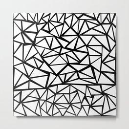 Mozaic Triangle White Metal Print