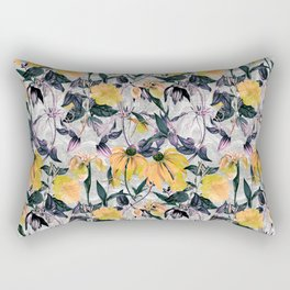 Abstract pattern of yellow blooms Rectangular Pillow