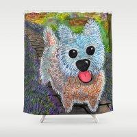 westie Shower Curtains featuring Westie in Lavender Garden by Gini Causton-Keene