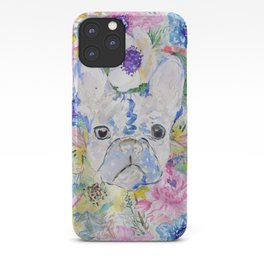 Abstract French bulldog floral watercolor paint iPhone Case