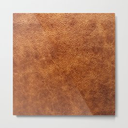 Brown vintage faux leather background Metal Print