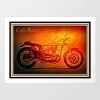 cafe racer Art Prints featuring Cafe Racer by elkart51