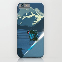 Retro Sunset Alpine Ski Travel Poster iPhone Case