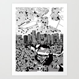 boston city skyline black and white Art Print