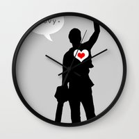 "evil dead Wall Clocks featuring Bruce Campbell Evil Dead ""Groovy"" by Minerva Torres-Guzman"