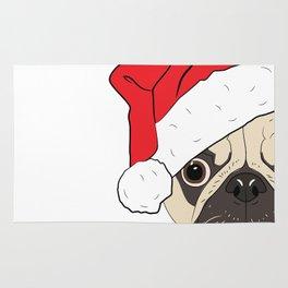 Christmas pug, festive dog vector Rug