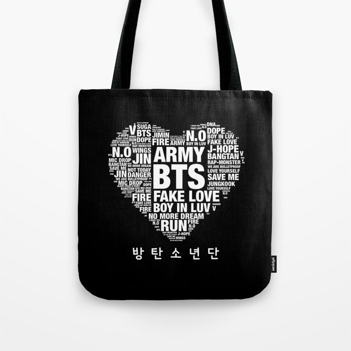 b95b392d6636 BTS ARMY Fan Art   Typography Tote Bag by louche and lovely