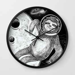 Sloth in Space Wall Clock