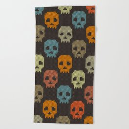 Knitted skull pattern - colorful Beach Towel