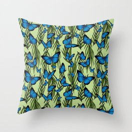 Blue Butterfly Monarchy With Vines Throw Pillow