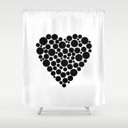 Simple black and white pattern  .heart black polka black polka dots . Shower Curtain