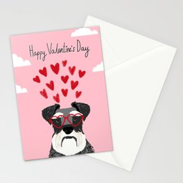 Schnauzer head valentines day dog breed gifts for pure breed rescue dogs Stationery Cards