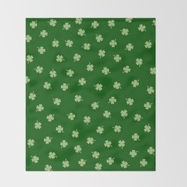 Green Shamrocks Green Background Throw Blanket