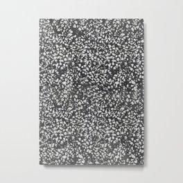 Black and White Terrazzo Texture Pattern Metal Print