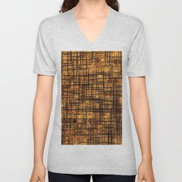 geometric square pixel pattern abstract in brown Unisex V-Neck