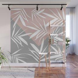 Envelope leaves decor. pink, grey, white Wall Mural