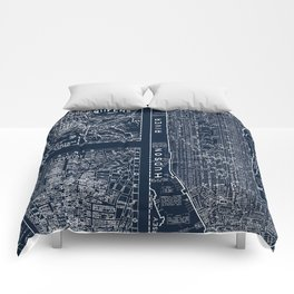 Vintage New York City Street Map Comforters