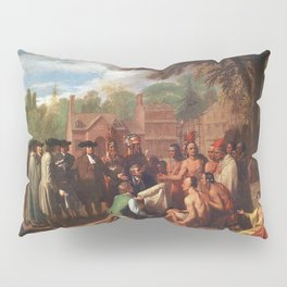 Classical Masterpiece 'The Treaty of Penn with the Indians' by Benjamin West Pillow Sham