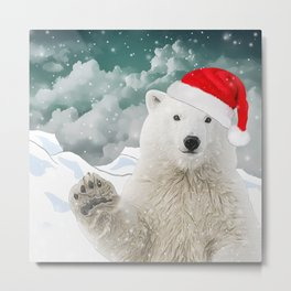 Santa Polar Bear Metal Print