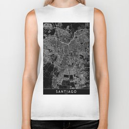 Santiago Black Map Biker Tank