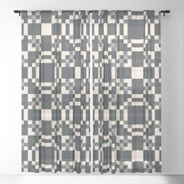 HABIT off-white black charcoal grey check pattern Sheer Curtain