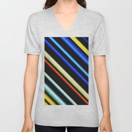 Red yellow blue and black stripes diagonal Unisex V-Neck