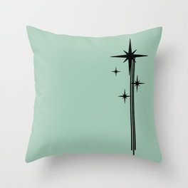 1950s Atomic Age Retro Starburst in Mint Green and Black Throw Pillow