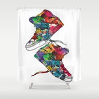sneakers Shower Curtains featuring Paint sneakers by Cindys