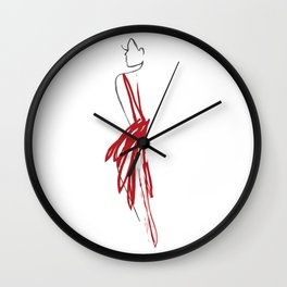 Red Silhouette Wall Clock