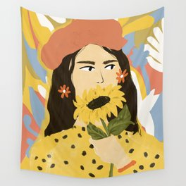 Sunflowers In Your Face Wall Tapestry