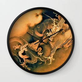 Kano Hogai - Top Quality Art - Dragon Playing Wall Clock