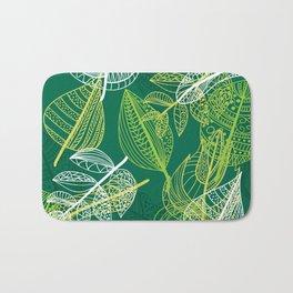 Lovely green leaves pattern illustration Bath Mat