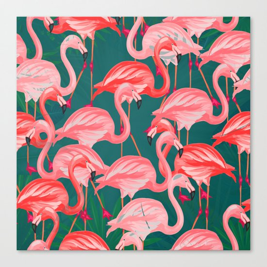 flamingo tropical Canvas Print