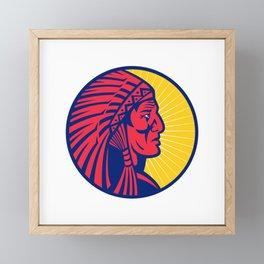 Old Native American Chief Headdress Circle Framed Mini Art Print
