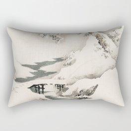 Old Vintage Japanese Winter Landscape Illustration Rectangular Pillow