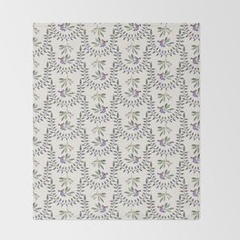 Natural Olive Leaf Berry Birds on Branch Throw Blanket