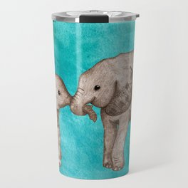 Baby Elephant Love - sepia on watercolor teal Travel Mug